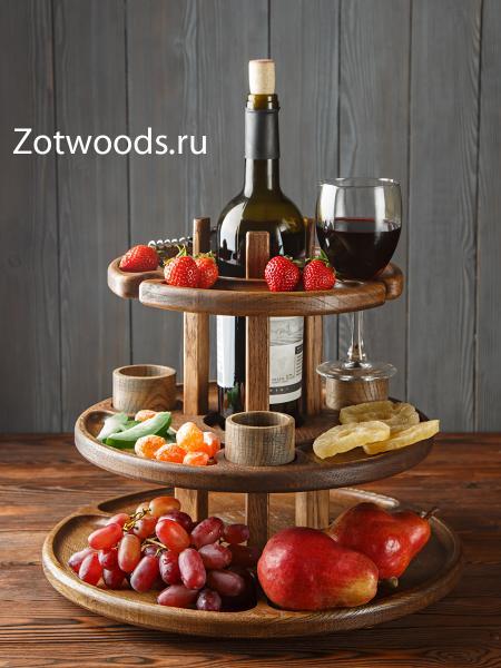 Фруктовница - этажерка многоярусная для вина и бокалов - темная