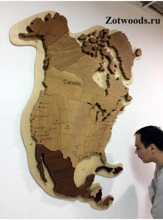 Карта Северной Америки из дерева