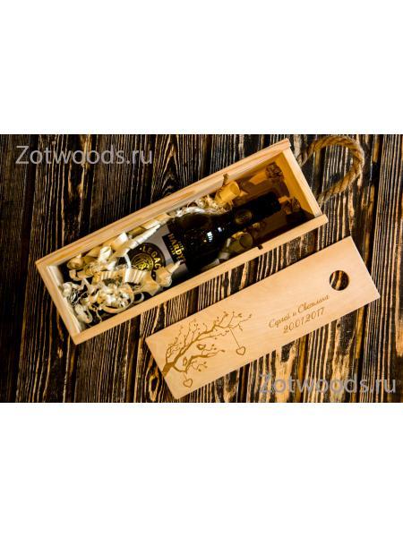 """Деревянная упаковка для бутылки вина - """"Ветка"""""""