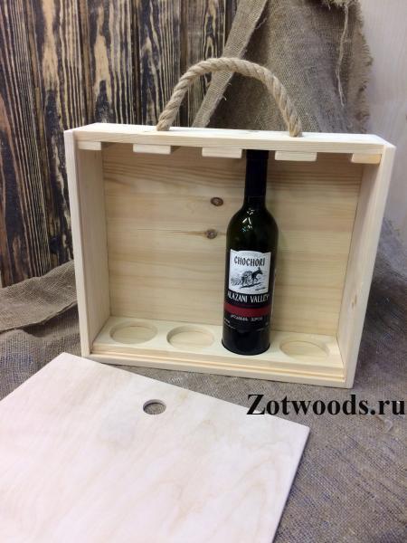 """Подарочная коробка для вина деревянная -  """"Для 4-х бутылок"""""""