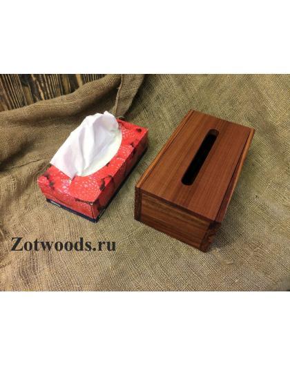Салфетница из красного дерева с крышкой на магнитах