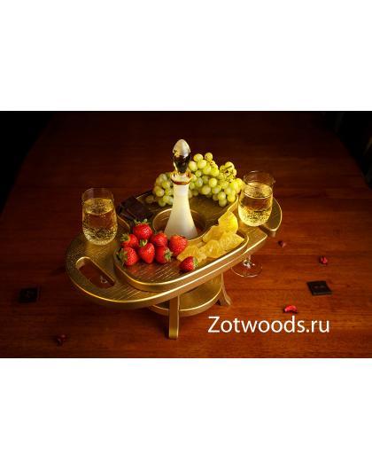 Винница из дерева на два бокала - Золотая