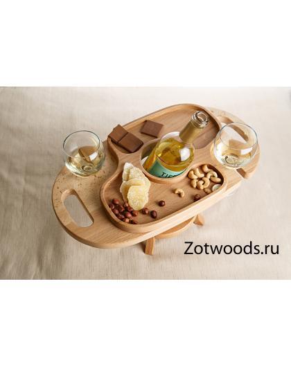 Столик винница из дерева на два бокала - светлая