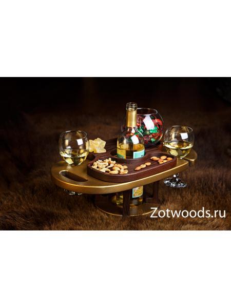 Винница из дерева на два бокала - бронза и термоясень