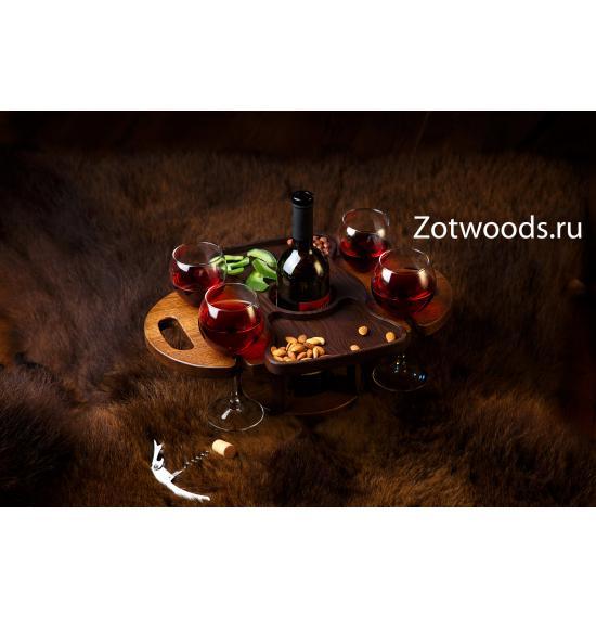 Винница из дерева на четыре бокала - темная