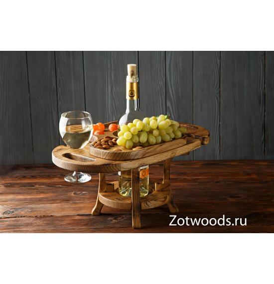 Винница из дерева на два бокала из обожженного дуба