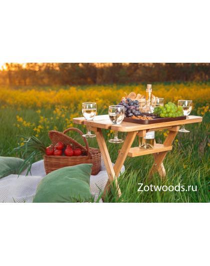 Винный столик из дерева складной из дуба  - большой