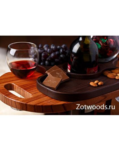 Винный столик на два бокала из Эбиары и термоясеня