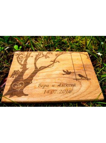 """Оригинальная деревянная разделочная доска """"Дерево и птички"""""""
