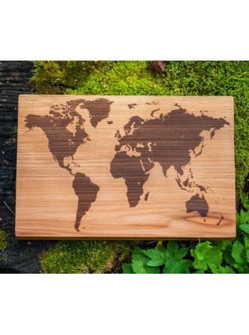 """Деревянная разделочная доска """"Карта мира"""""""